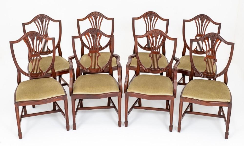 set of 8 mahogany shield back dining chairs