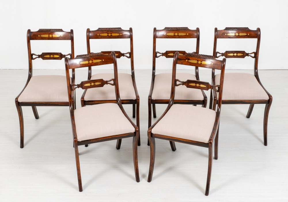 set of 6 regency simulated rosewood dining chairs