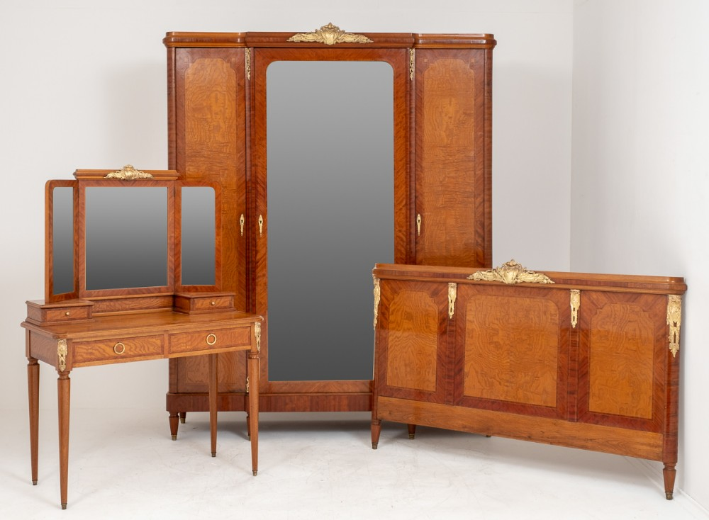 good quality burr ash and walnut french bedroom suite