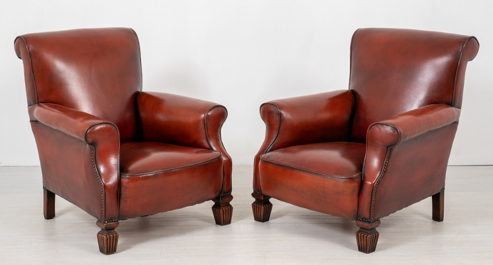 pair of victorian leather club chairs