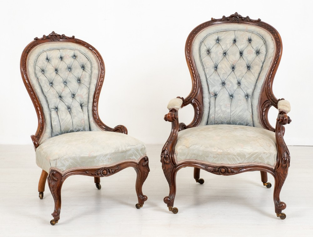 pretty pair of victorian his and her walnut parlour chairs