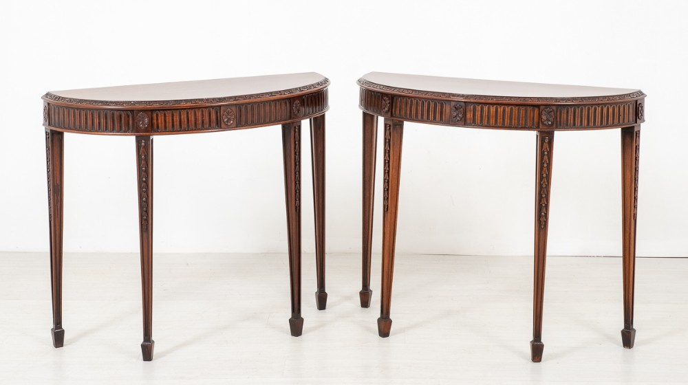 pair of mahogany hepplewhite style demi lune tables