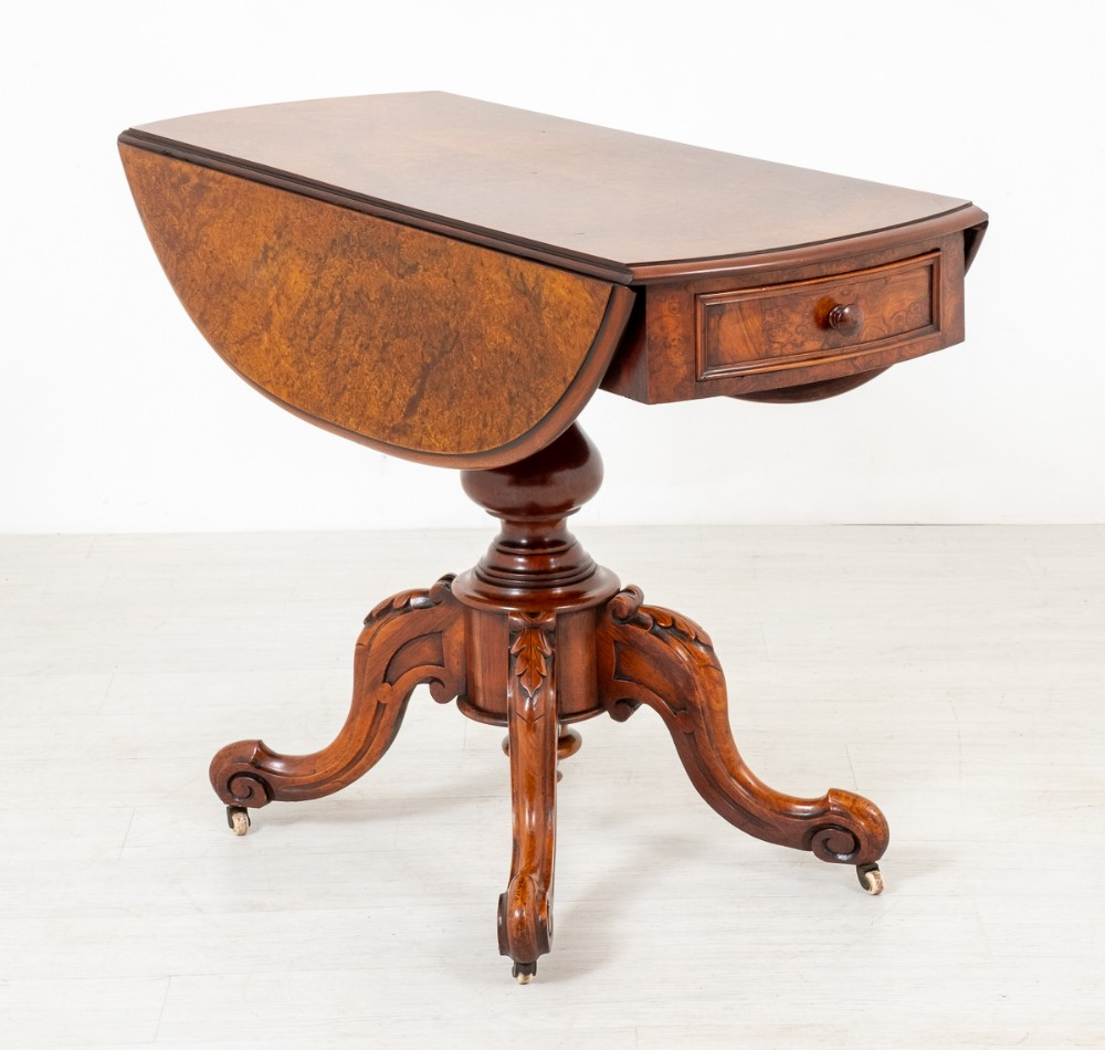 very unusual victorian burr walnut pembroke table