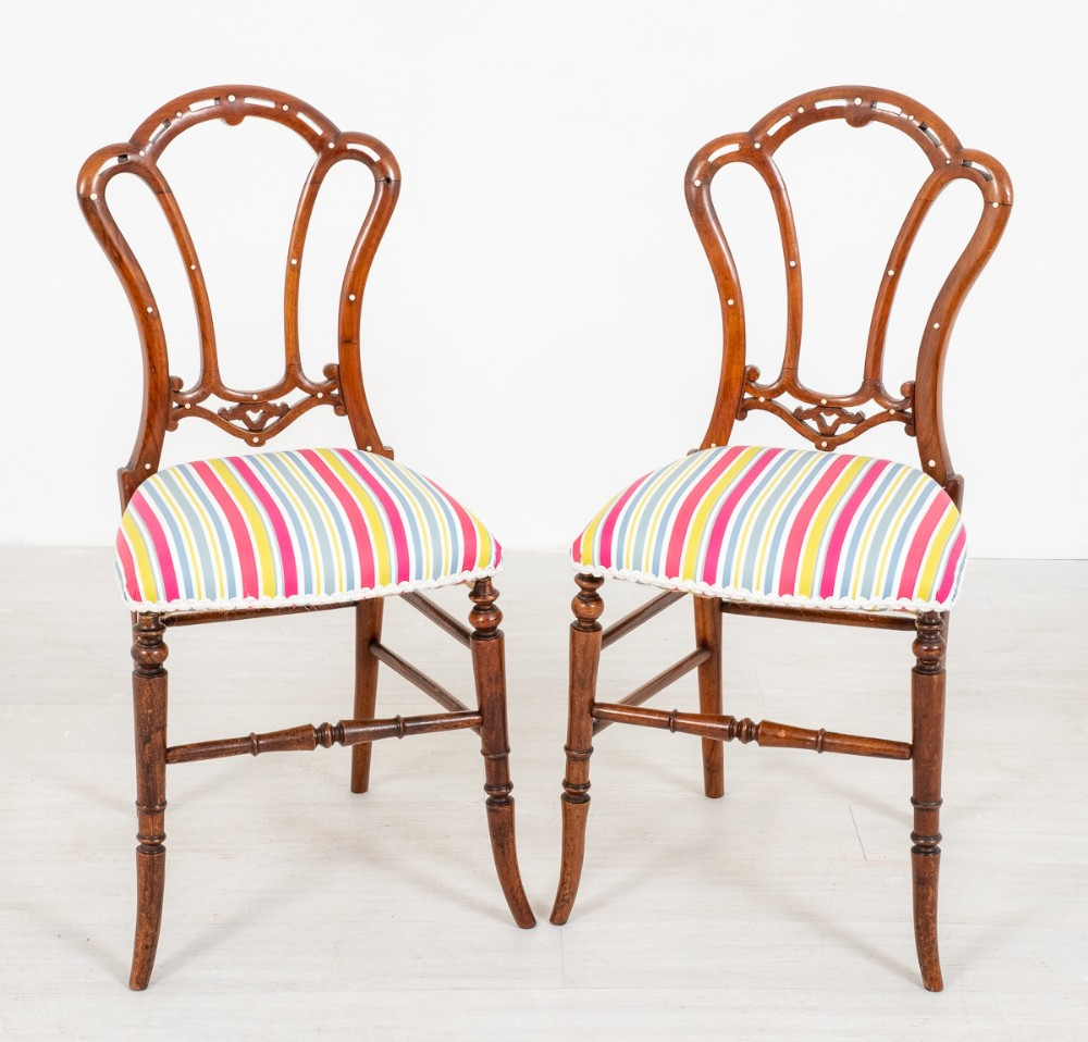 pretty pair of victorian walnut side chairs