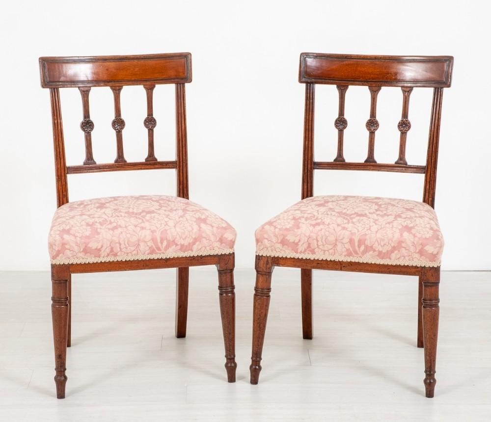 pretty pair of mahogany regency side chairs