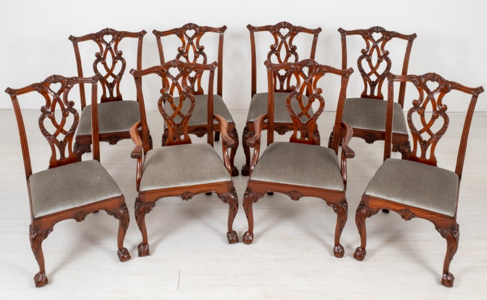 set of 8 6 2 mahogany chippendale style dining chairs