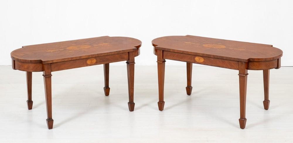 pair of mahogany inlaid coffee tables