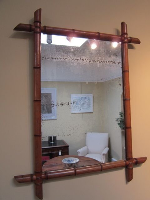 Bamboo Frame Mirror Worlds Away Bamboo Detail Frame Mirror Gold Carbonized Horizontal Bamboo