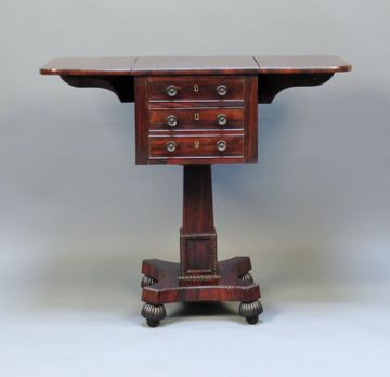 19thc rosewood pillar pembroke work table