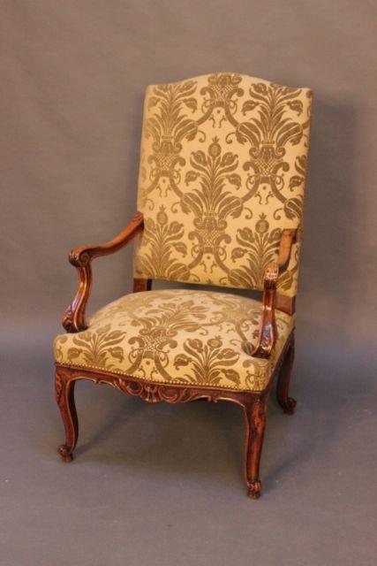 19thc walnut upholstered salon chair