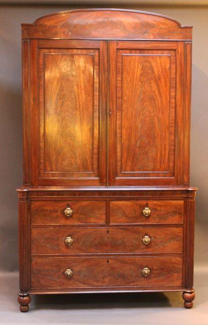 19thc mahogany linen press