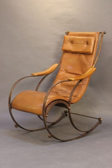 Awesome A Late 19Thc Metal Leather Rocking Chair By Robert Squirreltailoven Fun Painted Chair Ideas Images Squirreltailovenorg