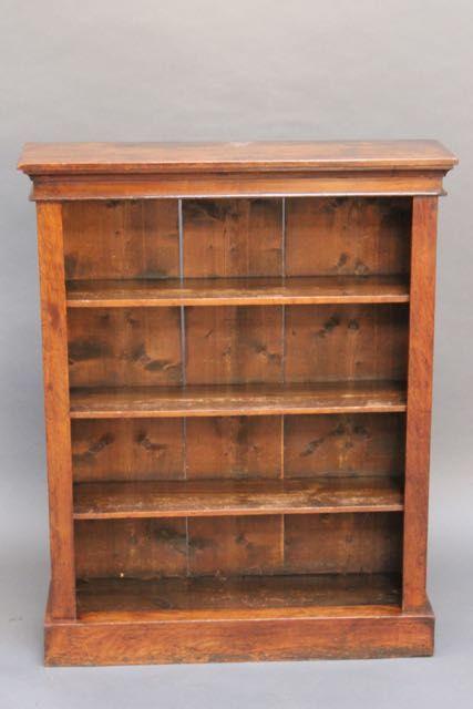 19thc walnut bookcase with three shelves