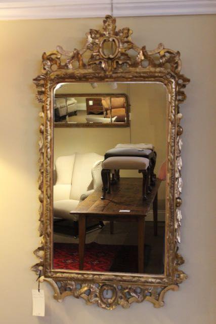 19thc gilt wood wall mirror