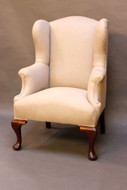 19thc mahogany upholstered wing back armchair