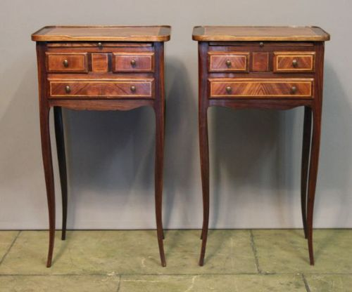 pair of 19thc rosewood bedside tables