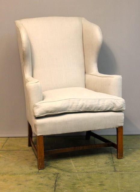 19thc mahogany wing armchair