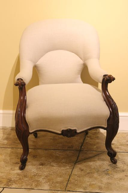 19thc upholstered walnut armchair