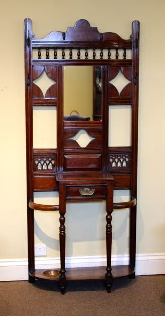 late 19thc pitch pine hall stand
