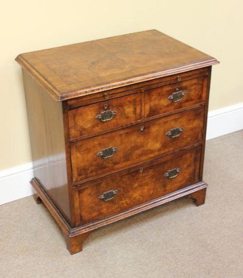 late 19thc walnut chest of drawers of small proportions