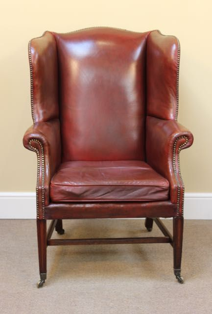 19thc leather wing armchair