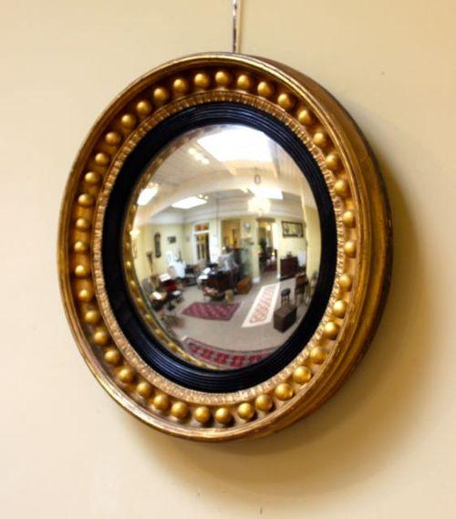 19thc gilt wood convex mirror