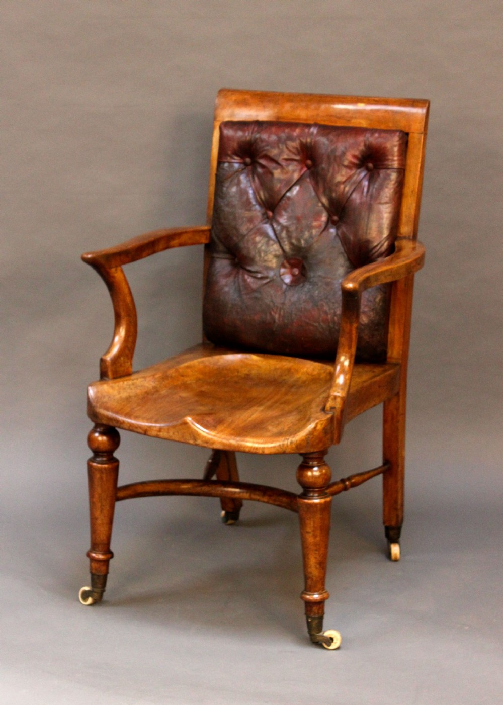 19thc Leather Button Back Captains Chair
