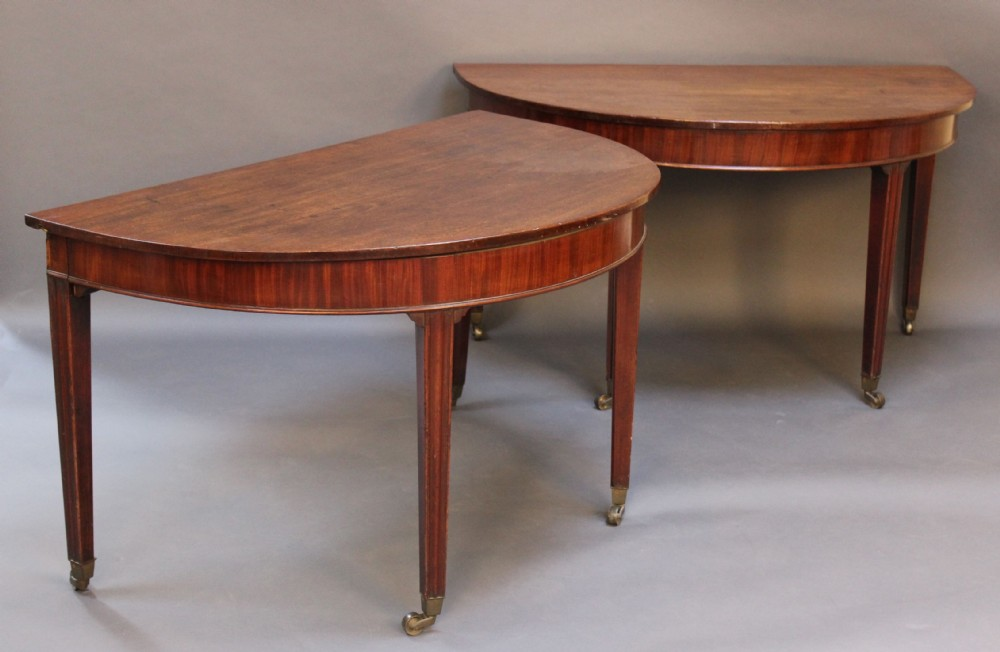pair of 18thc mahogany d end sidedining table