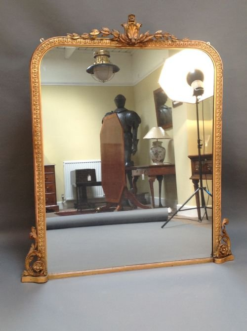 Late 19thc large gilded over mantle mirror with carved for Mantle mirror