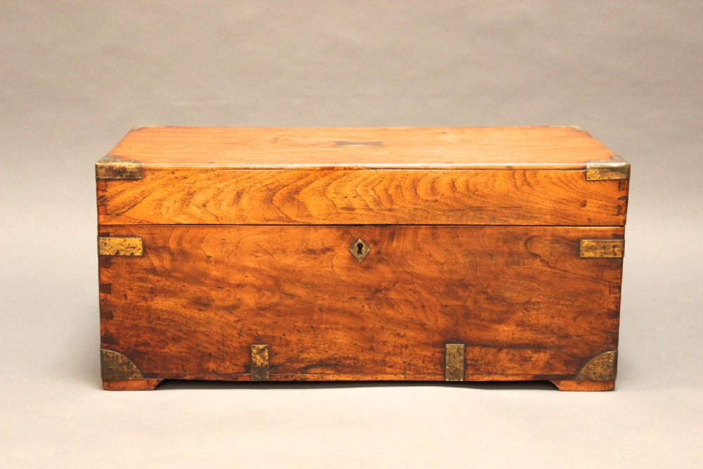 Small thc chamfer wood brass bound chest