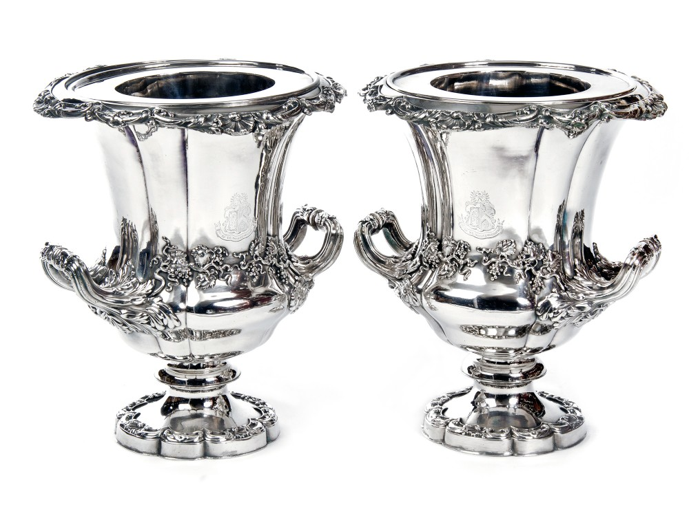 impressive pair of old sheffield plate campana shaped wine coolers