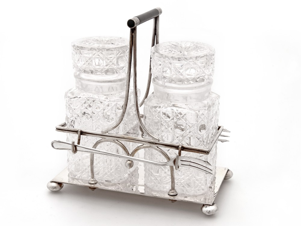 mappin webb silver plated double pickle jar stand