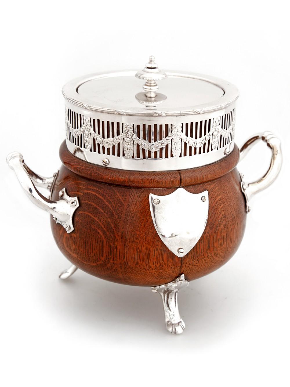 unusual antique cauldron shaped oak silver plate barrel