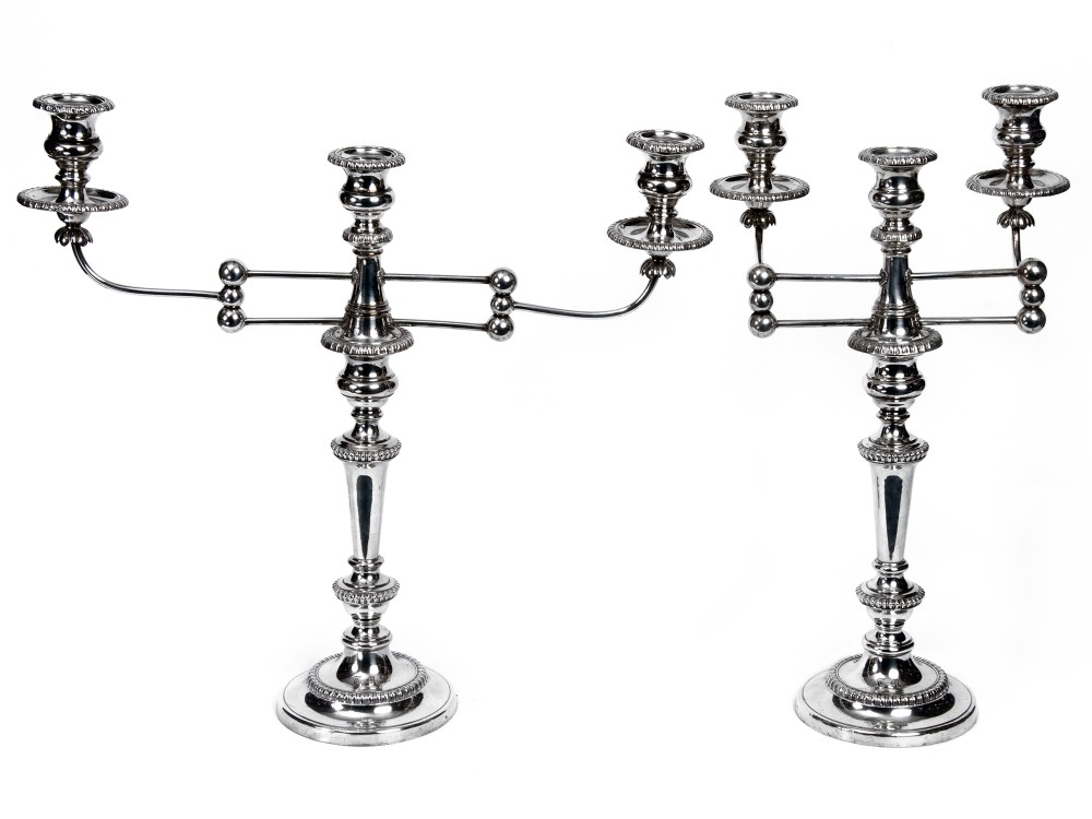 pair of most unusual regency old sheffield plate candelabra with articulating branches