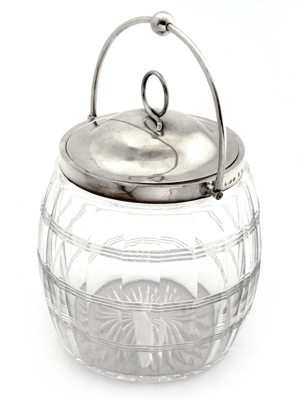 victorian silver mounted cut glass barrel with a swing handle and pull off lid