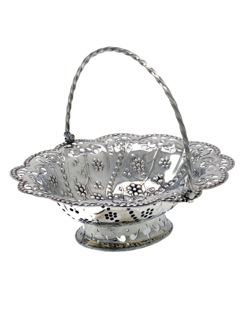 victorian copy of a george iii silver swing handle oval basket