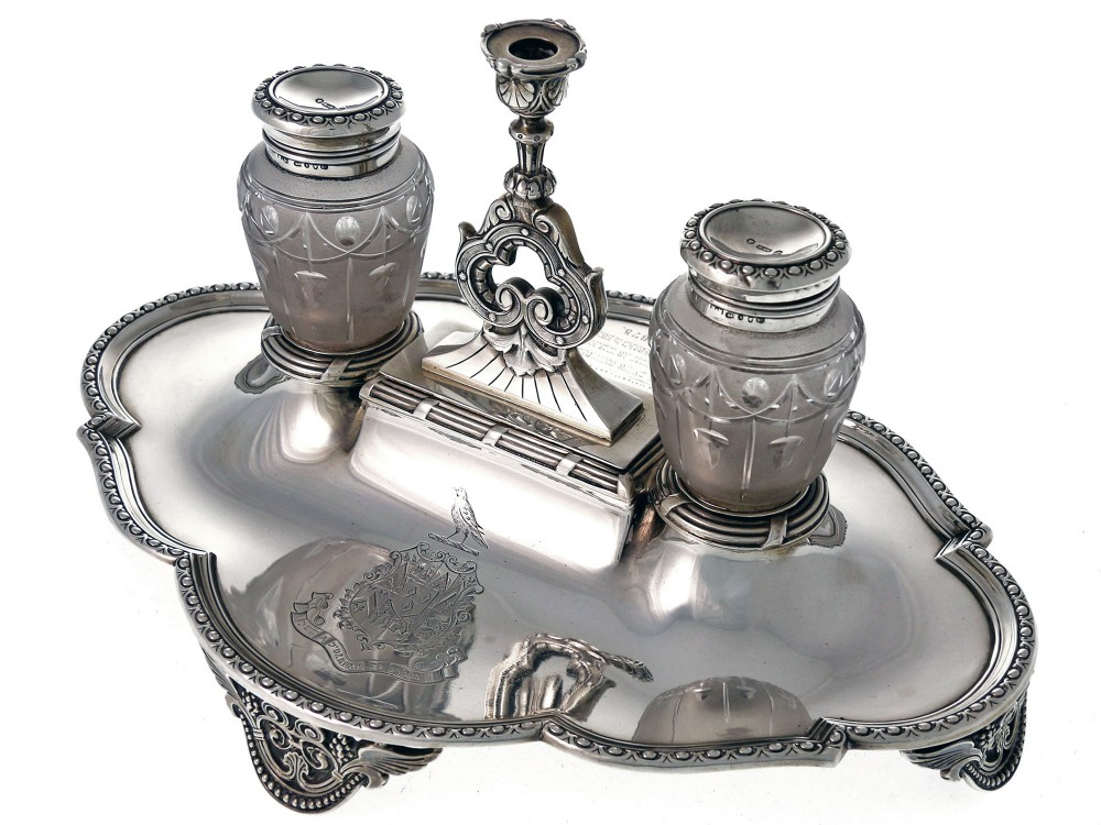 elkington silver ink stand with two cut glass inkwells