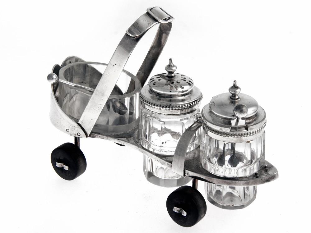 novelty victorian silver plate roller skate condiment set