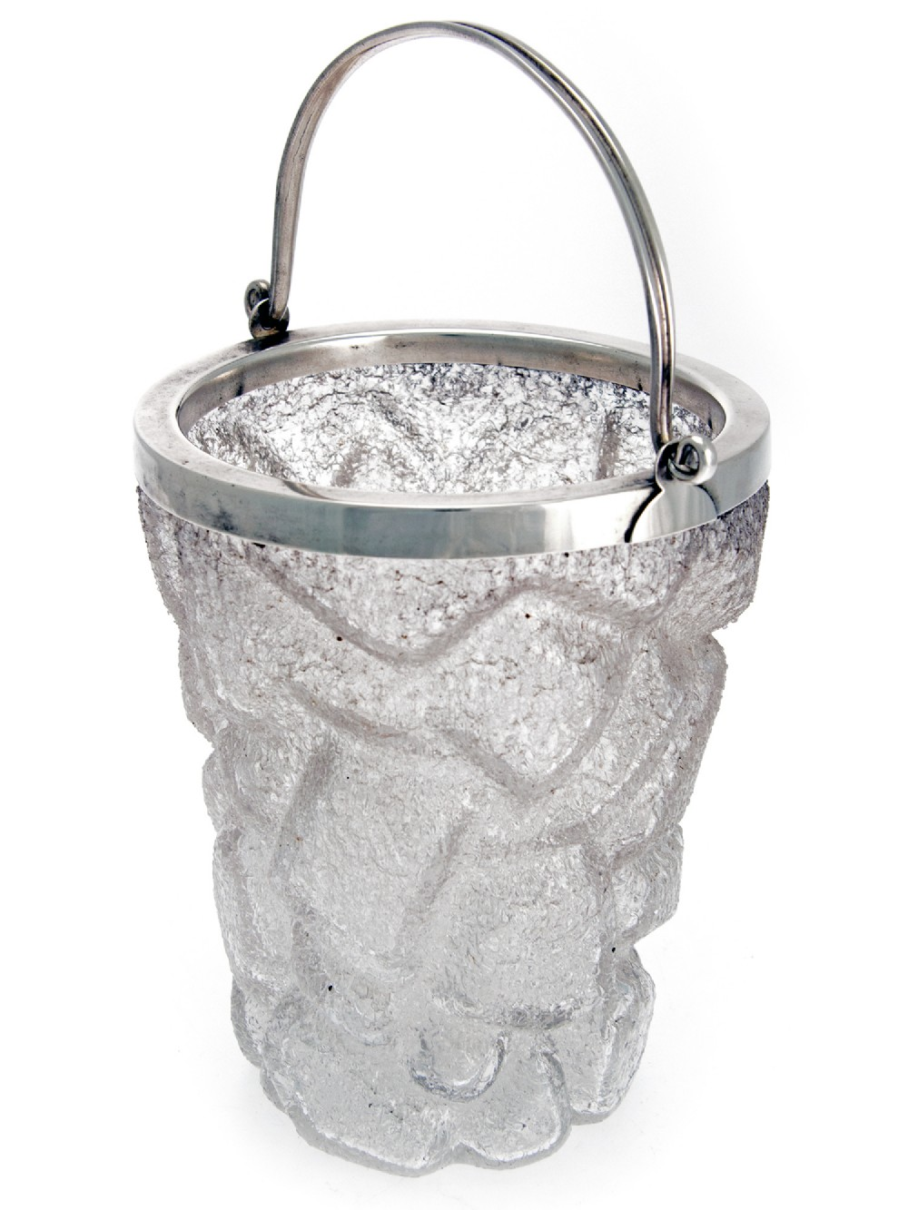 decorative silver plate and ice cube shaped glass ice pail