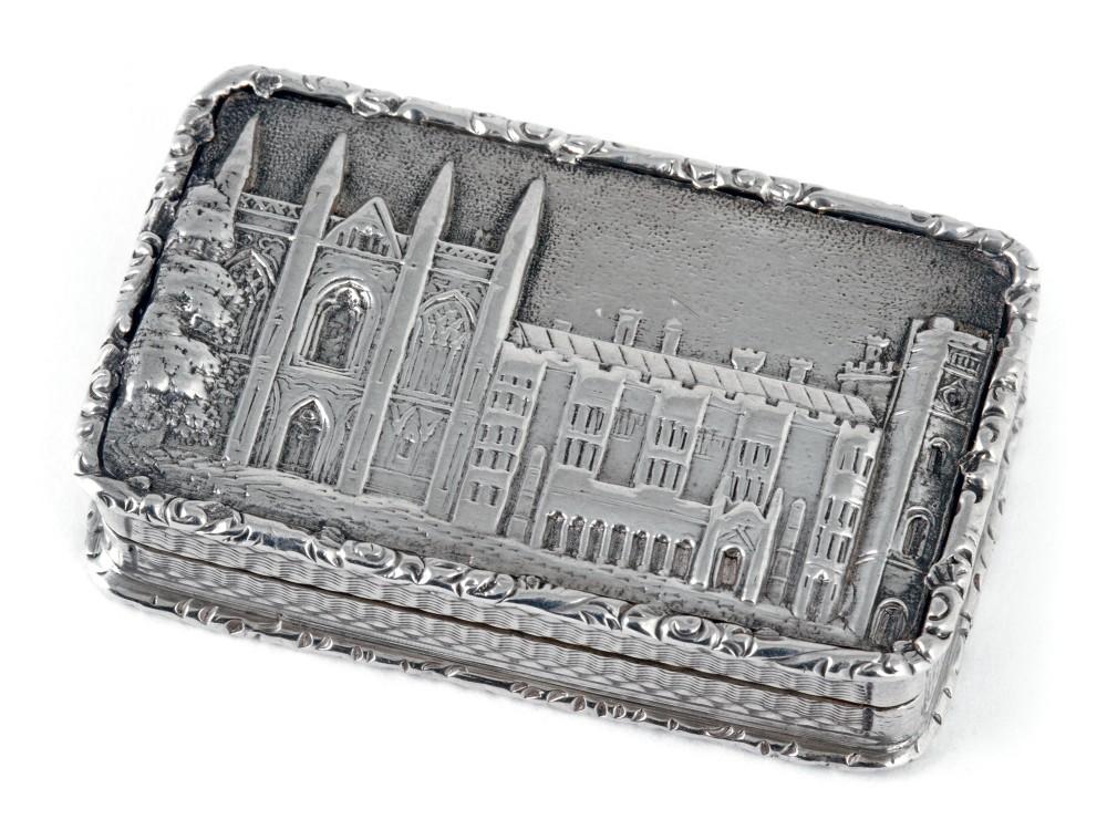 silver william iv castle top vinaigrette depicting newstead abbey
