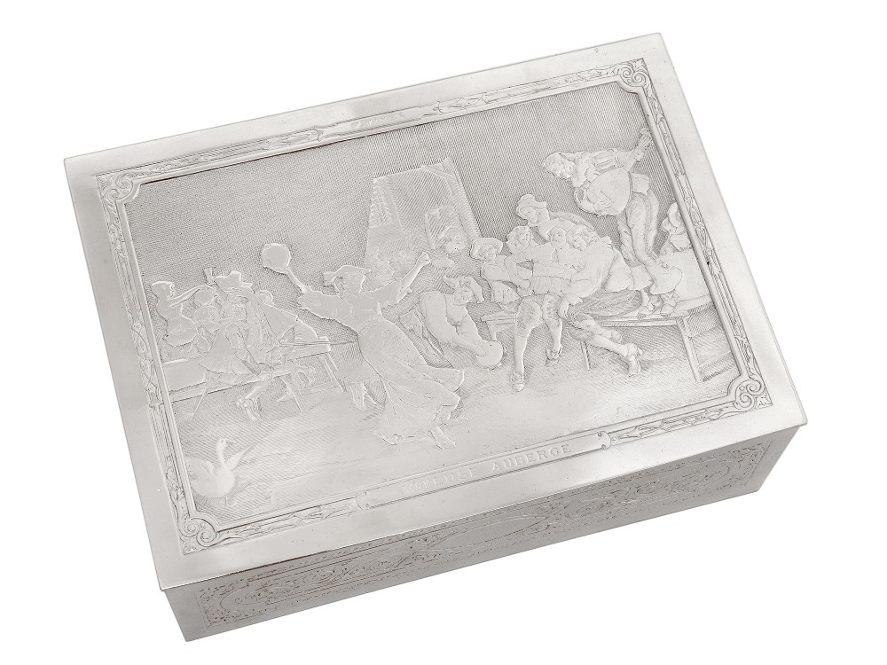 french silver plated joyeuse auberge box with scenes by italian artist francesco vinea