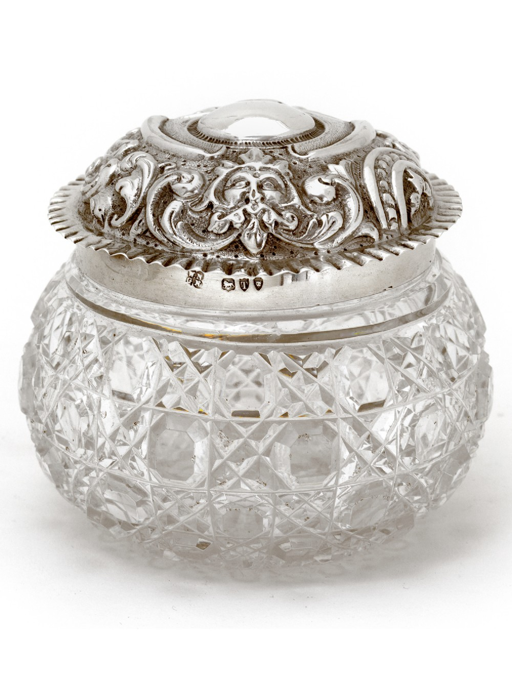 late victorian silver topped dressing table jar with pull off lid