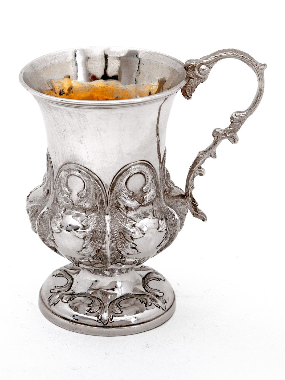 victorian silver christening cup with a campana shaped body