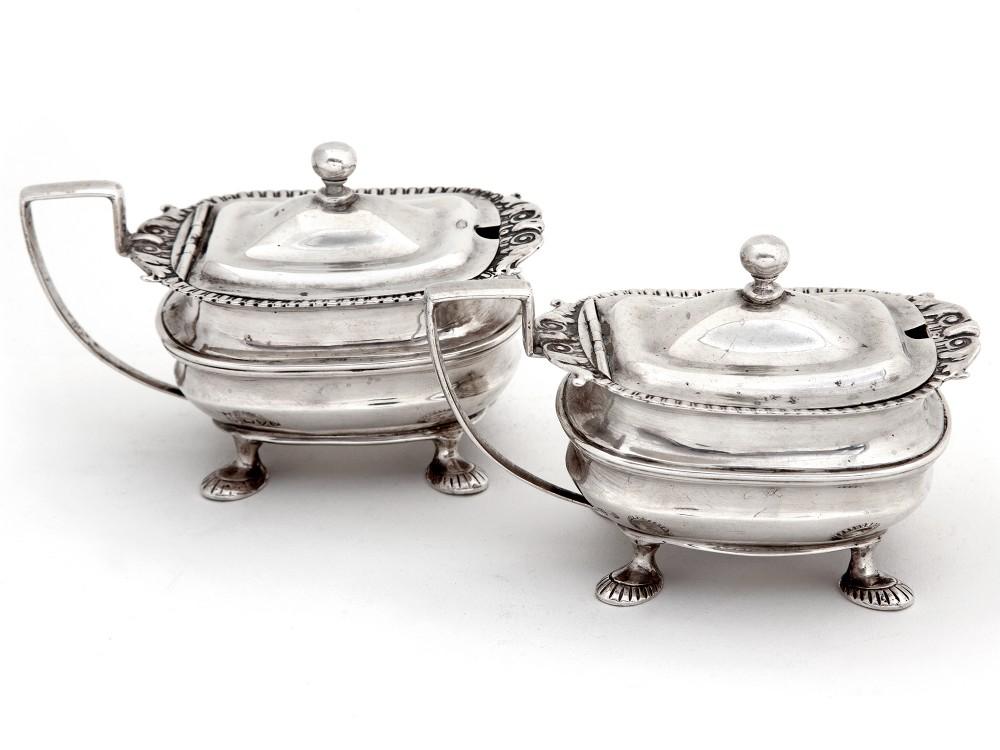 pair of edwardian silver mustard pots in a georgian style