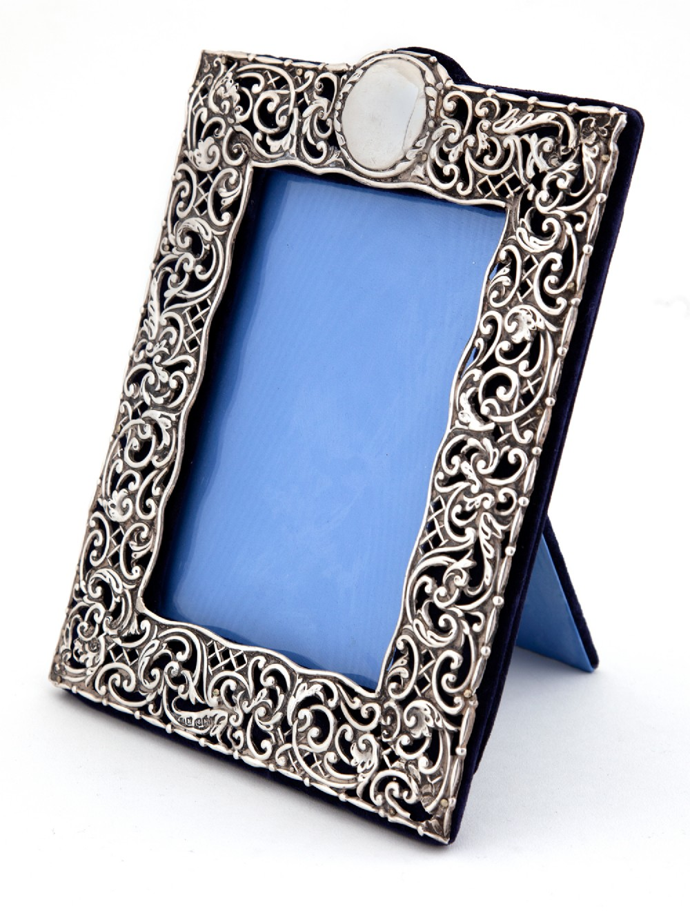 ornate antique silver photo picture frame with blue velvet back