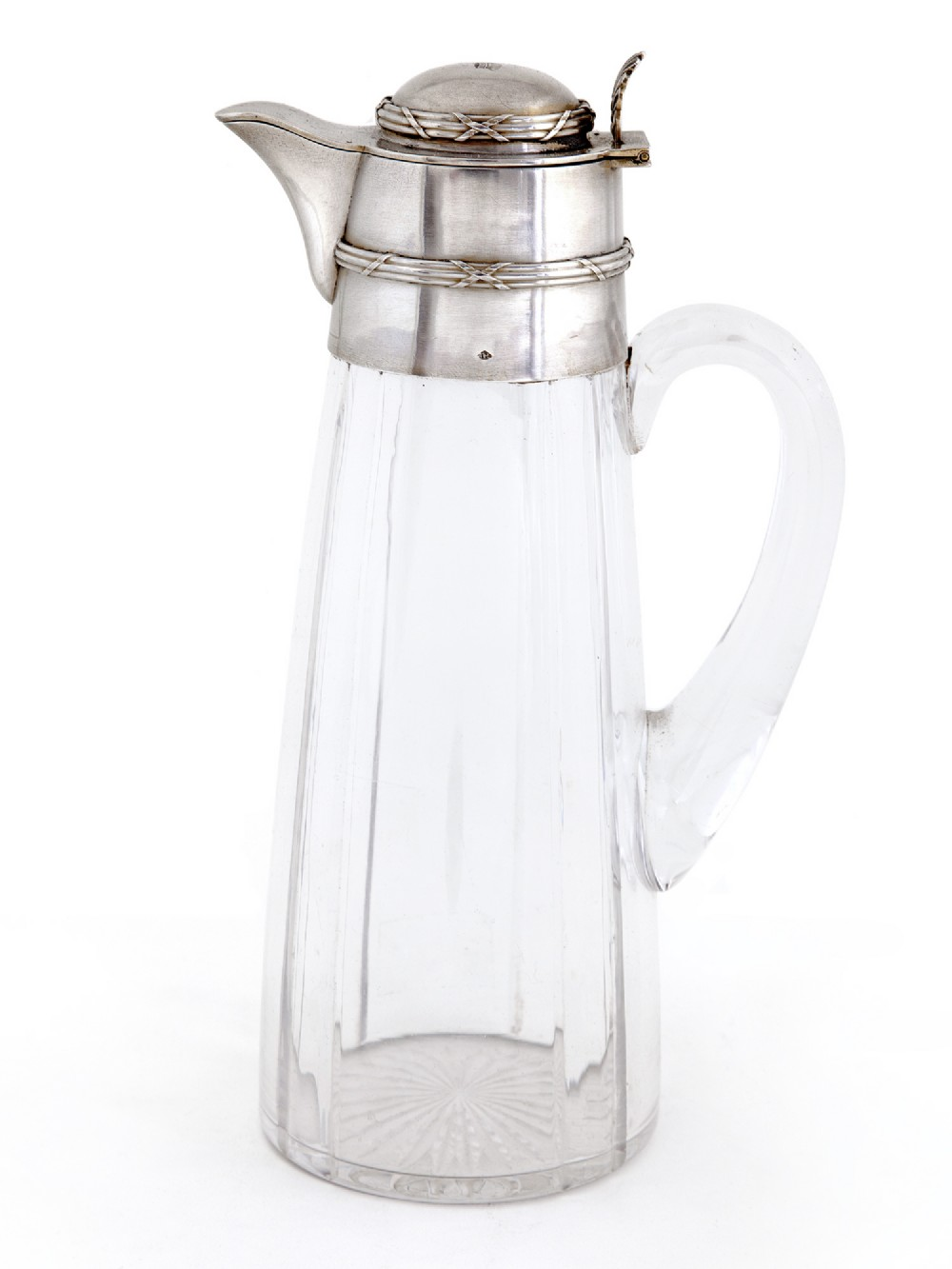 french silver mounted and glass claret jug with a hinged domed cover engraved with a coronet