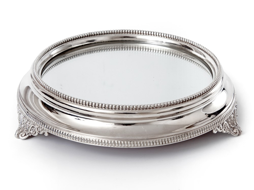 elegant antique silver plated mirror plateau cake stand