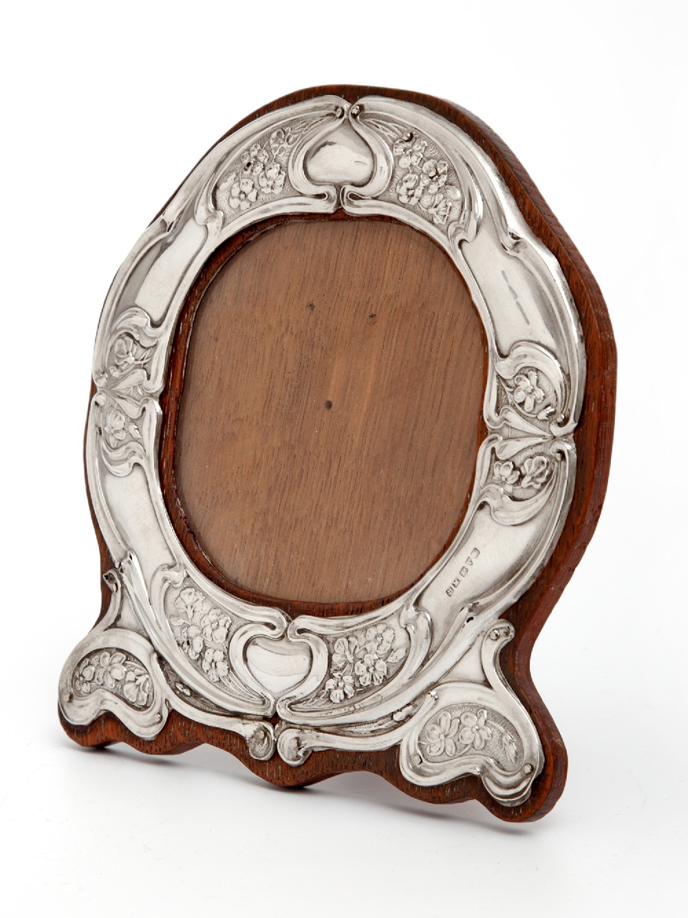 art nouveau silver photo picture frame with repousse stylised floral decoration