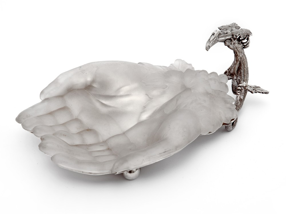 victorian silver plated cupped hands dish with removable frosted glass liner