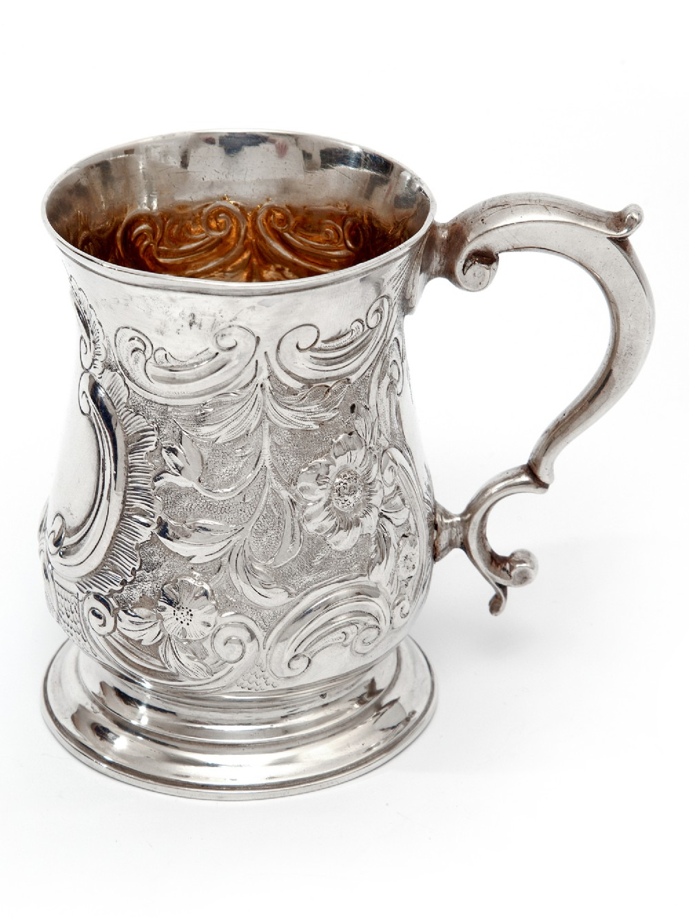george iii silver baluster shape christening mug with a cast scroll handle